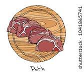 crude pork slices on a round... | Shutterstock .eps vector #1041865741