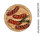 grilled sausages with rosemary...   Shutterstock .eps vector #1041865759