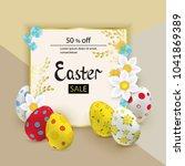colorful easter eggs  white... | Shutterstock .eps vector #1041869389