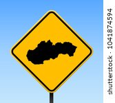 slovakia map road sign. square... | Shutterstock .eps vector #1041874594