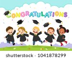 happy graduation day. vector... | Shutterstock .eps vector #1041878299