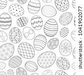 easter eggs seamless vector... | Shutterstock .eps vector #1041902077