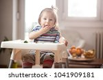 little caucasian baby girl... | Shutterstock . vector #1041909181