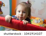 little caucasian baby girl with ... | Shutterstock . vector #1041914107
