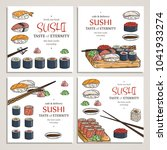 doodle sushi and rolls on wood. ... | Shutterstock . vector #1041933274