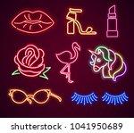 set fashion neon sign. neon...   Shutterstock . vector #1041950689