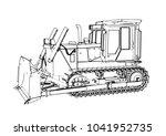 outline vector bulldozer | Shutterstock .eps vector #1041952735