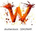 watercolor paint   letter w | Shutterstock . vector #10419649