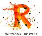 Watercolor Paint   Letter R
