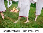midsummer. a group of young... | Shutterstock . vector #1041983191