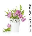 pink tulips in metal flowerpot. ... | Shutterstock . vector #104198741