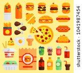 cartoon fast food vector... | Shutterstock .eps vector #1041987454