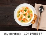 an overhead photo of a plate of ... | Shutterstock . vector #1041988957
