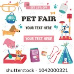Stock vector doodle drawing pet fair poster template text surrounded with pet care supplies and cute animals 1042000321