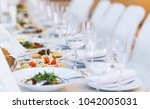 beautifully served table in a... | Shutterstock . vector #1042005031