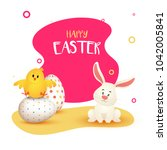 painted easter eggs  chick and... | Shutterstock .eps vector #1042005841