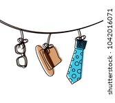 classic hat necktie and glasses ...   Shutterstock .eps vector #1042016071