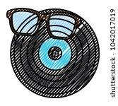 retro glasses and vinyl disc...   Shutterstock .eps vector #1042017019