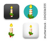 christmas candle and holly... | Shutterstock .eps vector #1042036555
