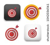 red darts target aim.... | Shutterstock .eps vector #1042036561