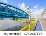 the algera storm surge barrier... | Shutterstock . vector #1042037539