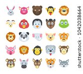 flat vector set of wild and pet ... | Shutterstock .eps vector #1042038664