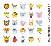 wildlife animals flat vector... | Shutterstock .eps vector #1042038667