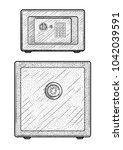 metal safe illustration ... | Shutterstock .eps vector #1042039591