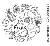 various fruit sketch | Shutterstock .eps vector #1042046614