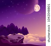 night landscape with rock...   Shutterstock .eps vector #1042048801