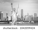 black and white new york city... | Shutterstock . vector #1042059424
