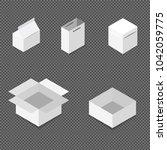white square box. cardboard box ... | Shutterstock .eps vector #1042059775