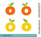 o letter orange fruit icon... | Shutterstock .eps vector #1042062019