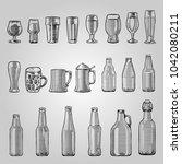 vintage glass and bottle set.  | Shutterstock .eps vector #1042080211