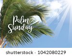 palm sunday design with text... | Shutterstock . vector #1042080229