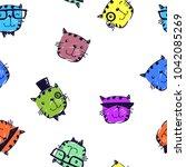 hipster seamless pattern.... | Shutterstock .eps vector #1042085269