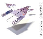 paper plane from a 500 euro... | Shutterstock . vector #1042094131