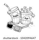 popcorn soda sketch | Shutterstock .eps vector #1042094647