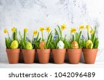 easter egg with grass and... | Shutterstock . vector #1042096489