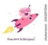 vector illustration of pink... | Shutterstock .eps vector #1042097044