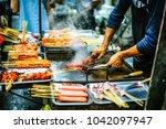 shanghai market food | Shutterstock . vector #1042097947