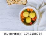 matzo matzah balls soup...   Shutterstock . vector #1042108789
