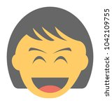 a laughing expression shown via ... | Shutterstock .eps vector #1042109755