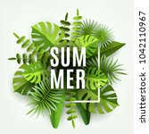 trendy summer tropical leaves... | Shutterstock .eps vector #1042110967