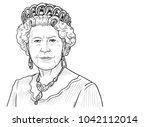 queen elizabeth ii. vector...   Shutterstock .eps vector #1042112014