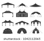 event tent set. black fabric... | Shutterstock .eps vector #1042112065