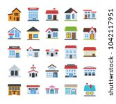 buildings flat vector icons  | Shutterstock .eps vector #1042117951