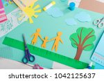 making paper cut collage.... | Shutterstock . vector #1042125637