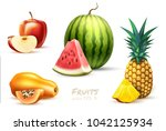 pineapple apple watermelon... | Shutterstock .eps vector #1042125934