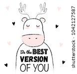 vector cartoon sketch deer... | Shutterstock .eps vector #1042127587